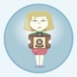 Muchacha con la cámara retra stock de ilustración