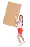 Muchacha con la caja de cartón Fotografía de archivo libre de regalías
