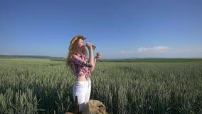 Muchacha con la cerveza y el pan en el campo de trigo metrajes