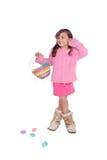 Muchacha con la cesta de Pascua Fotografía de archivo libre de regalías