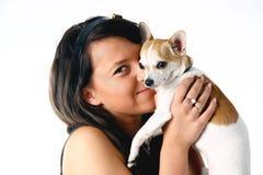 Muchacha con la chihuahua Imagen de archivo libre de regalías
