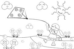 Muchacha con la cometa libre illustration