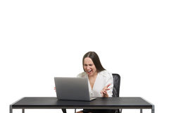 Muchacha con la computadora portátil Fotos de archivo