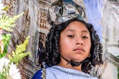 Muchacha con la corona en el flotador del desfile, Guatemala Fotografía de archivo libre de regalías