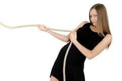 Muchacha con la cuerda Imagen de archivo libre de regalías