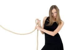 Muchacha con la cuerda fotografía de archivo libre de regalías