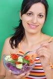 Muchacha con la ensalada Fotografía de archivo