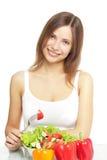 Muchacha con la ensalada vegetal fotos de archivo