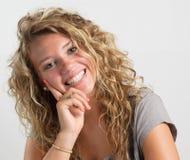 Muchacha con la expresión feliz Imagenes de archivo