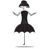 Muchacha con la falda del paraguas Fotografía de archivo