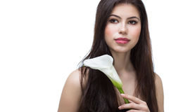 Muchacha con la flor de la cala Imagen de archivo libre de regalías