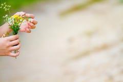 Muchacha con la flor en su mano Fotos de archivo libres de regalías