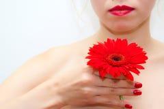 Muchacha con la flor roja Fotos de archivo