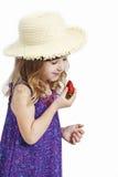Muchacha con la fresa Imágenes de archivo libres de regalías