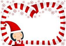 Muchacha con la frontera de la bufanda y de la Navidad de los copos de nieve Imágenes de archivo libres de regalías