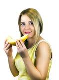 Muchacha con la fruta Fotografía de archivo