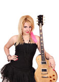 Muchacha con la guitarra eléctrica Fotografía de archivo