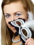 Muchacha con la máscara Foto de archivo libre de regalías