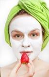 Muchacha con la máscara del fase Imagen de archivo libre de regalías