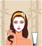 Muchacha con la máscara facial stock de ilustración