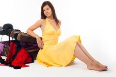 Muchacha con la maleta Foto de archivo libre de regalías