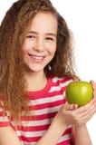 Muchacha con la manzana Imagen de archivo