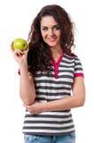 Muchacha con la manzana verde Fotos de archivo libres de regalías