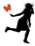 Muchacha con la mariposa Imagen de archivo