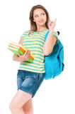 Muchacha con la mochila Imagen de archivo