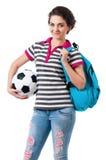 Muchacha con la mochila Fotos de archivo