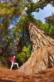 Muchacha con la mochila que se coloca cerca del árbol grande, los E.E.U.U. Fotografía de archivo