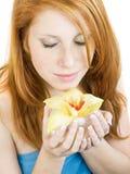 Muchacha con la orquídea Imagenes de archivo