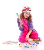 Muchacha con la pintura de la acuarela Imagen de archivo libre de regalías