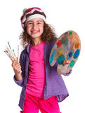 Muchacha con la pintura de la acuarela Fotografía de archivo libre de regalías