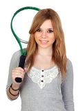 Muchacha con la raqueta de tenis Foto de archivo libre de regalías