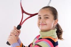 Muchacha con la raqueta del tenis Fotografía de archivo