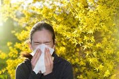Muchacha con la reacción alérgica en árbol floreciente Fotografía de archivo