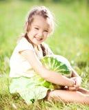 Muchacha con la sandía Foto de archivo libre de regalías