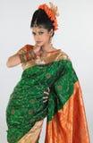 Muchacha con la seda-sari rica del bordado Imágenes de archivo libres de regalías