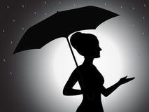 Muchacha con la silueta del paraguas Fotografía de archivo libre de regalías