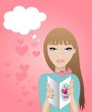 Muchacha con la tarjeta de las tarjetas del día de San Valentín Fotos de archivo libres de regalías