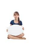 Muchacha con la tarjeta en blanco Fotografía de archivo