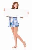 Muchacha con la tarjeta en blanco Foto de archivo libre de regalías