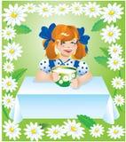 Muchacha con la taza de leche ilustración del vector