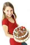 Muchacha con la torta de cumpleaños Imágenes de archivo libres de regalías