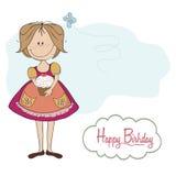 Muchacha con la torta de cumpleaños Foto de archivo libre de regalías