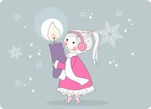 Muchacha con la vela para la guirnalda del advenimiento libre illustration