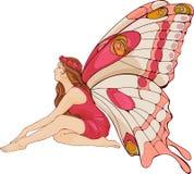 Muchacha con las alas de la mariposa Fotos de archivo libres de regalías