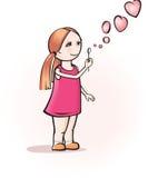 Muchacha con las burbujas de jabón Foto de archivo