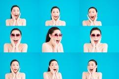 Muchacha con las caras expresivas Imagenes de archivo